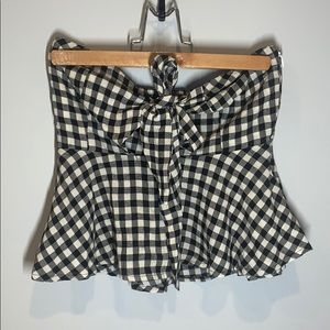 Strapless Gingham Crop Top